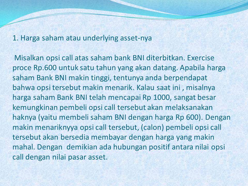 1. Harga saham atau underlying asset-nya Misalkan opsi call atas saham bank BNI diterbitkan.