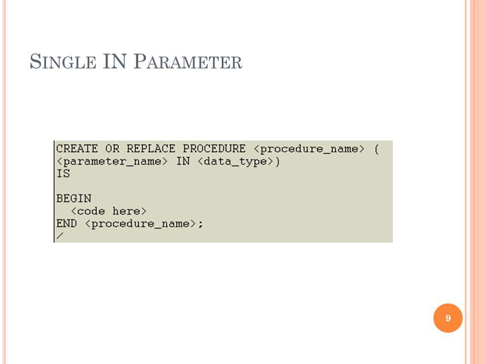Single IN Parameter