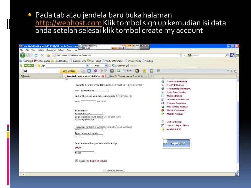 Pada tab atau jendela baru buka halaman http://webhost