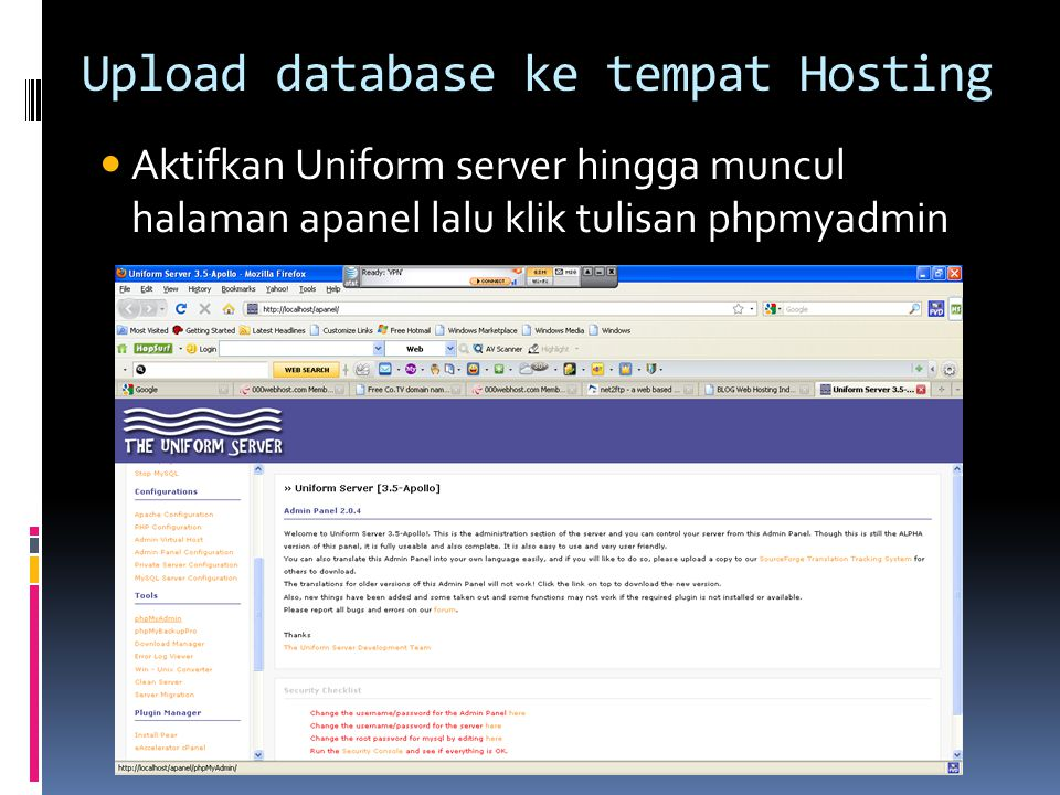 Upload database ke tempat Hosting