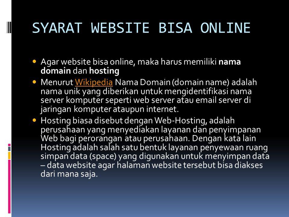 SYARAT WEBSITE BISA ONLINE