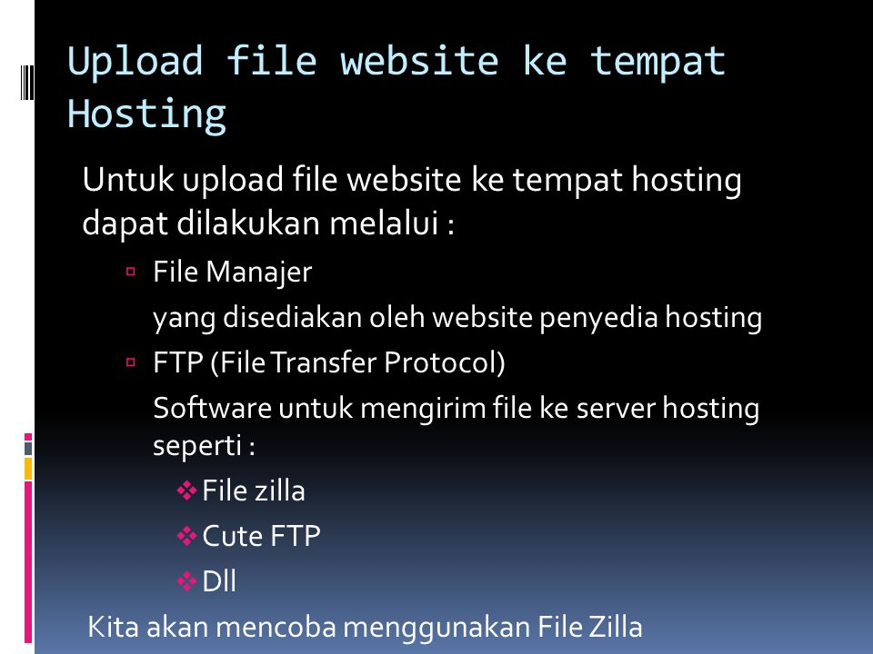 Upload file website ke tempat Hosting