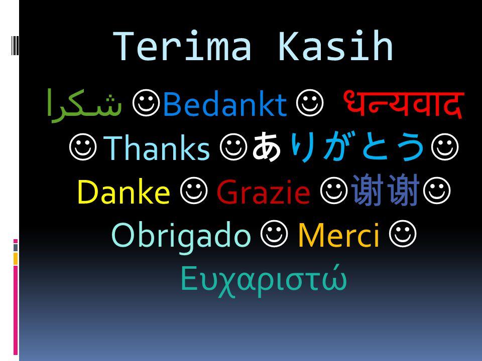 Terima Kasih شكرا Bedankt  धन्यवाद  Thanks ありがとう Danke  Grazie 谢谢 Obrigado  Merci  Ευχαριστώ.