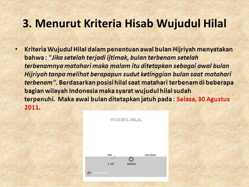 3. Menurut Kriteria Hisab Wujudul Hilal