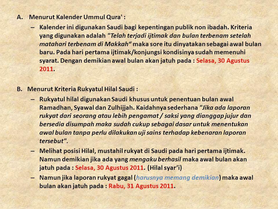 Menurut Kalender Ummul Qura :