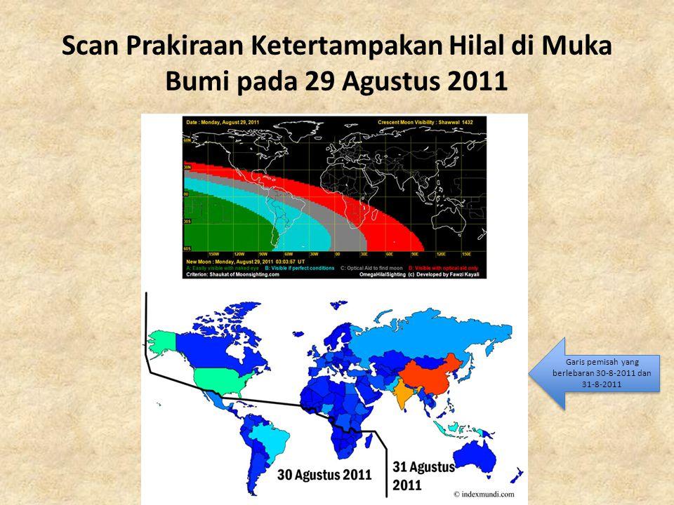 Scan Prakiraan Ketertampakan Hilal di Muka Bumi pada 29 Agustus 2011