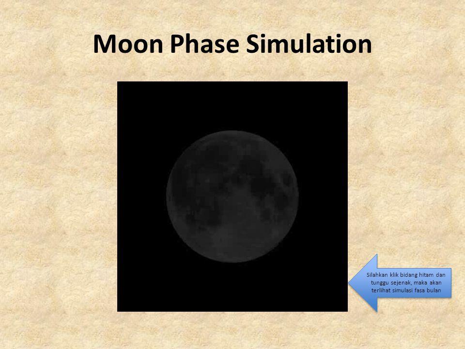 Moon Phase Simulation Silahkan klik bidang hitam dan tunggu sejenak, maka akan terlihat simulasi fasa bulan.