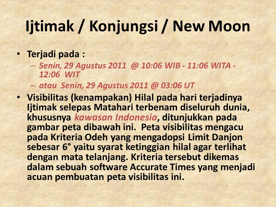 Ijtimak / Konjungsi / New Moon