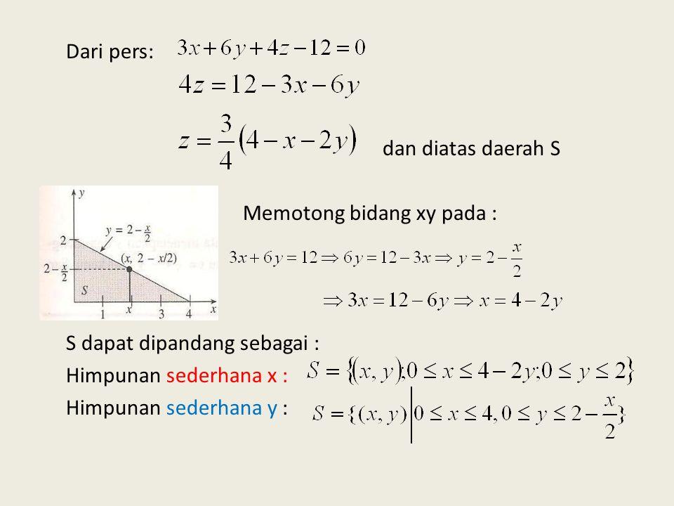 Dari pers: dan diatas daerah S Memotong bidang xy pada : S dapat dipandang sebagai : Himpunan sederhana x : Himpunan sederhana y :