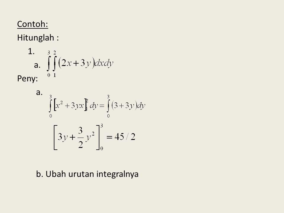 Contoh: Hitunglah : 1. a. Peny: b. Ubah urutan integralnya