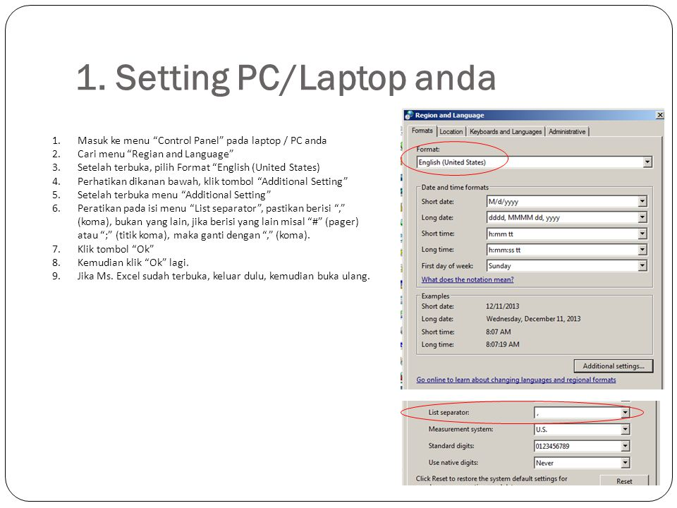 1. Setting PC/Laptop anda