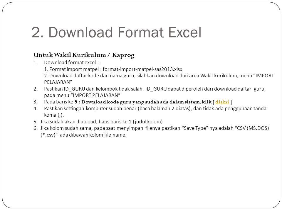 2. Download Format Excel Untuk Wakil Kurikulum / Kaprog