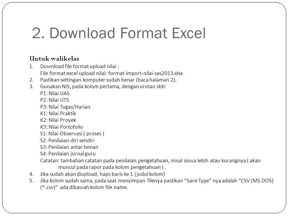 2. Download Format Excel Untuk walikelas