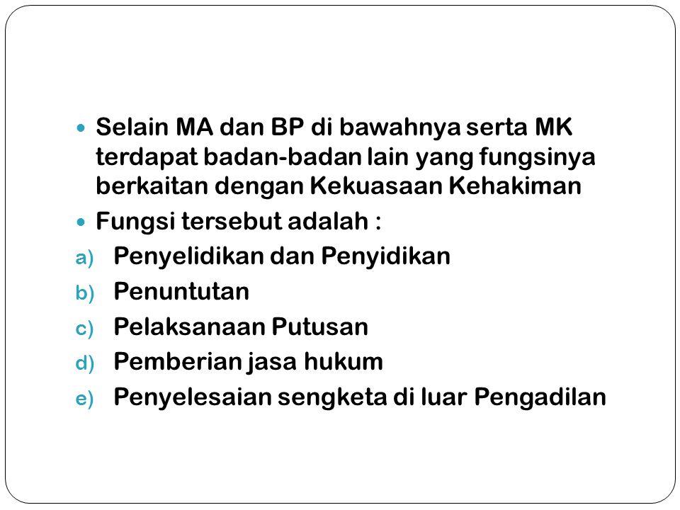Selain MA dan BP di bawahnya serta MK terdapat badan-badan lain yang fungsinya berkaitan dengan Kekuasaan Kehakiman
