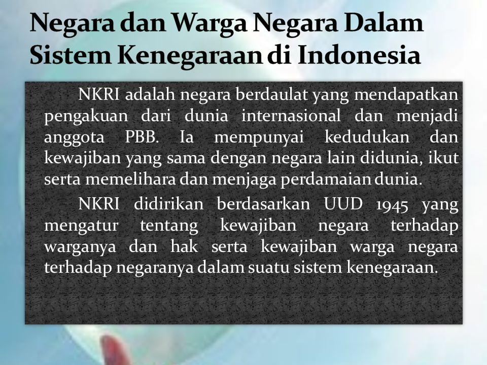 Negara dan Warga Negara Dalam Sistem Kenegaraan di Indonesia