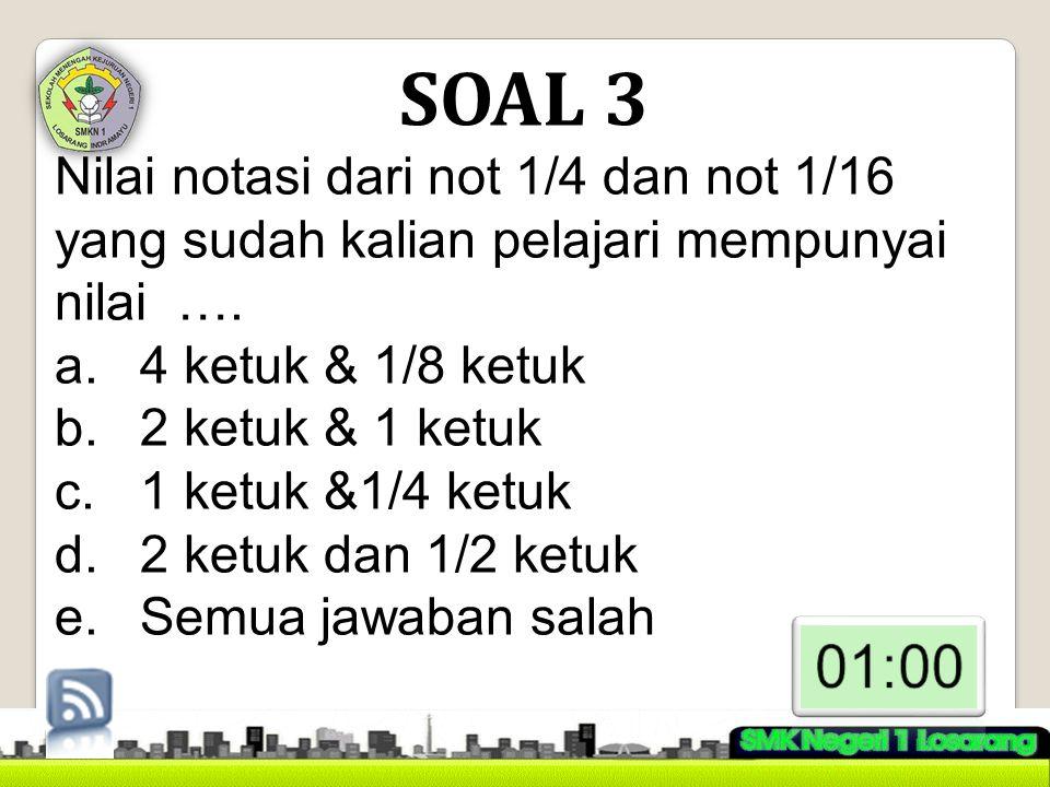 SOAL 3 Nilai notasi dari not 1/4 dan not 1/16 yang sudah kalian pelajari mempunyai nilai …. 4 ketuk & 1/8 ketuk.