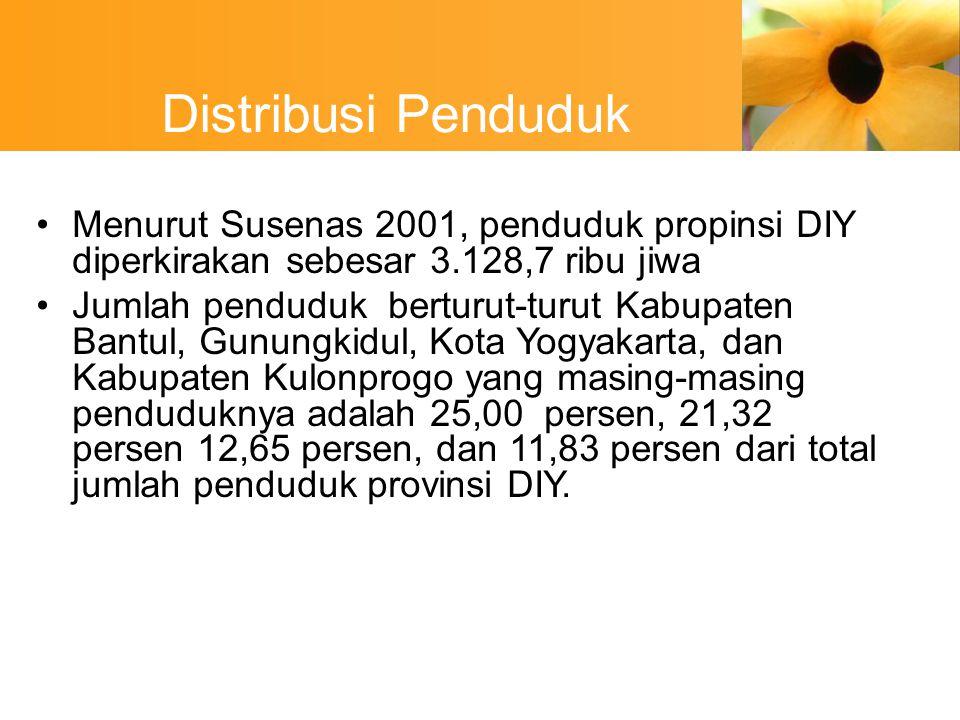 Distribusi Penduduk Menurut Susenas 2001, penduduk propinsi DIY diperkirakan sebesar 3.128,7 ribu jiwa.
