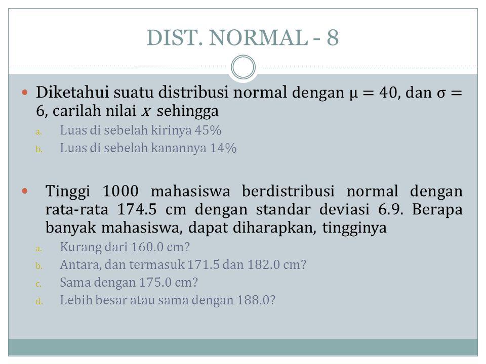 DIST. NORMAL - 8 Diketahui suatu distribusi normal dengan μ = 40, dan σ = 6, carilah nilai x sehingga.