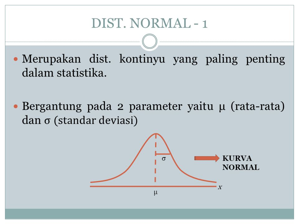 DIST. NORMAL - 1 Merupakan dist. kontinyu yang paling penting dalam statistika.