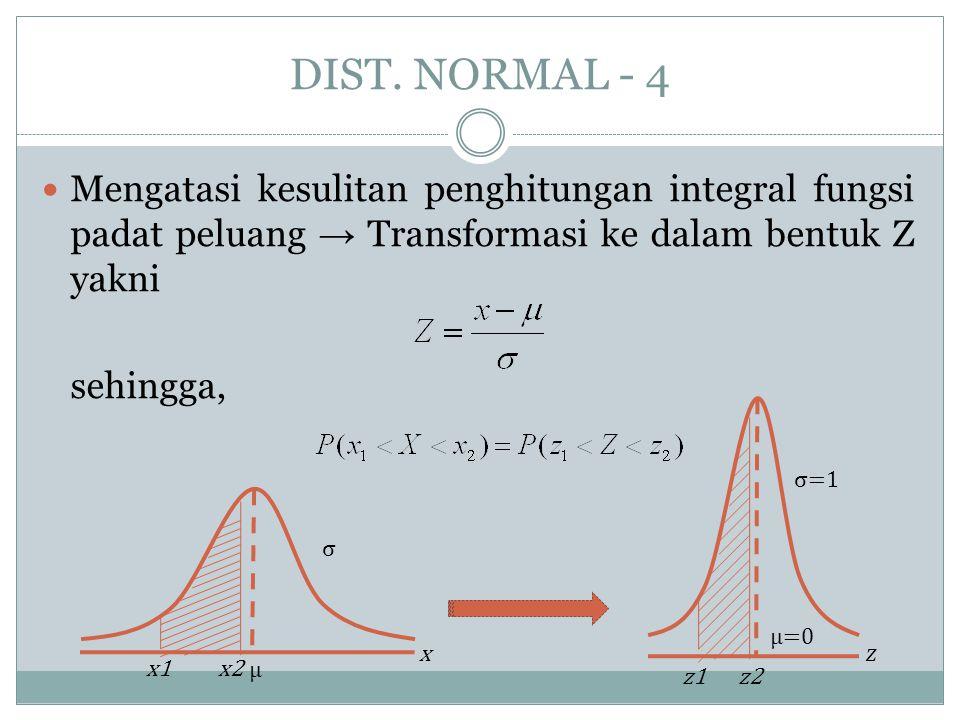 DIST. NORMAL - 4 Mengatasi kesulitan penghitungan integral fungsi padat peluang → Transformasi ke dalam bentuk Z yakni.
