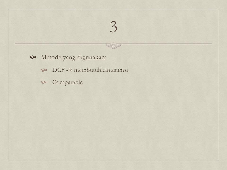 3 Metode yang digunakan: DCF -> membutuhkan asumsi Comparable