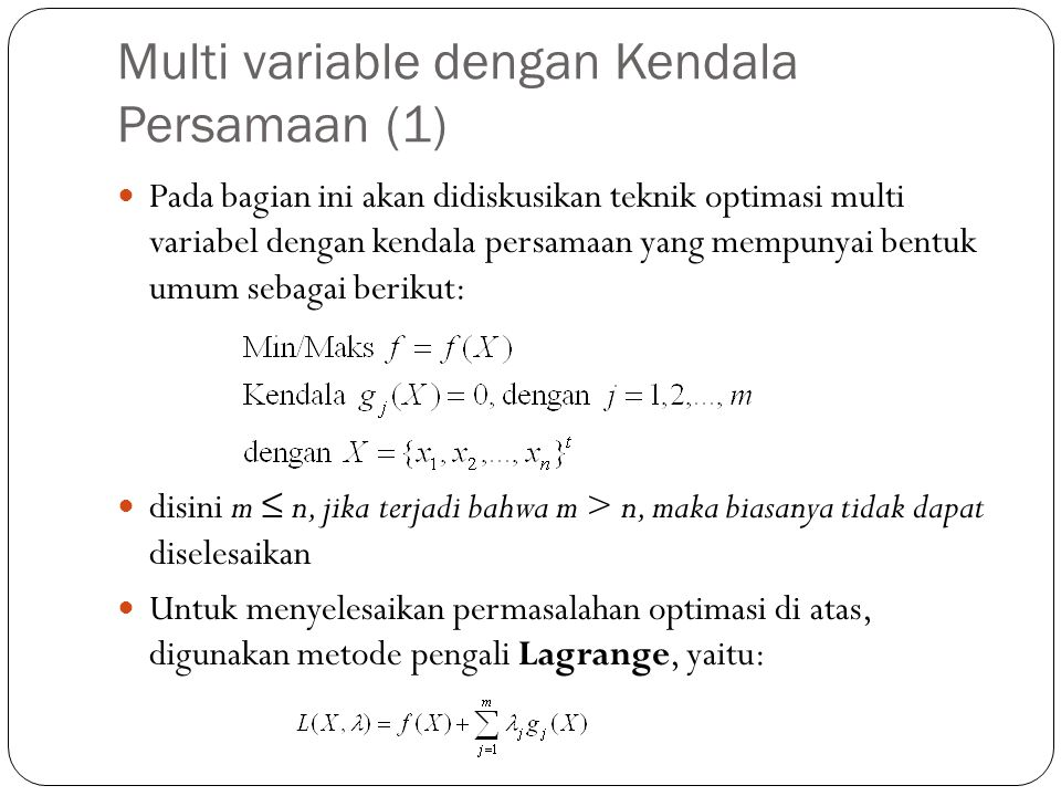 Multi variable dengan Kendala Persamaan (1)
