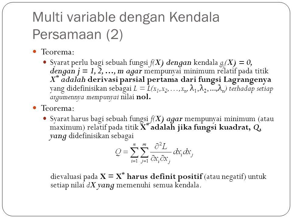Multi variable dengan Kendala Persamaan (2)