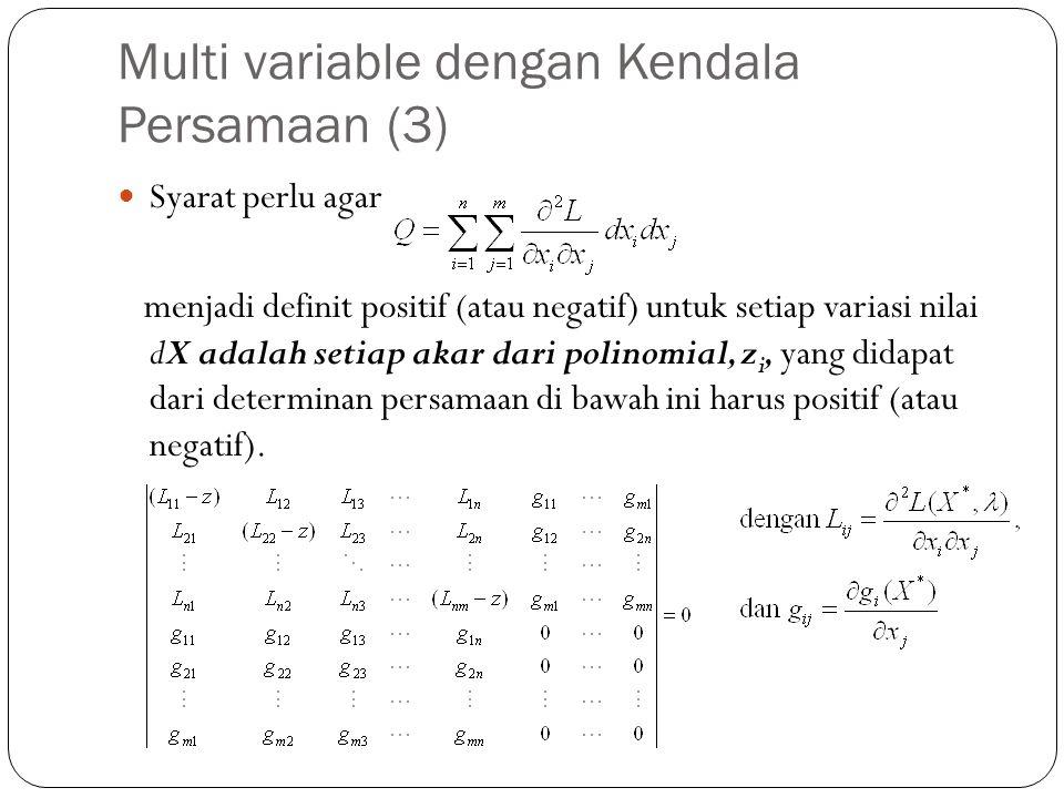 Multi variable dengan Kendala Persamaan (3)