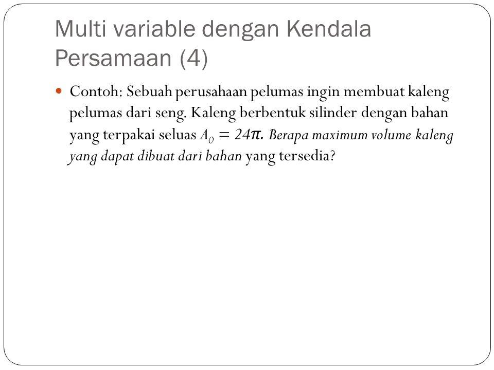 Multi variable dengan Kendala Persamaan (4)