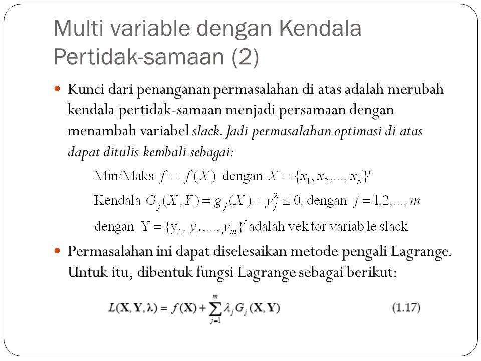 Multi variable dengan Kendala Pertidak-samaan (2)