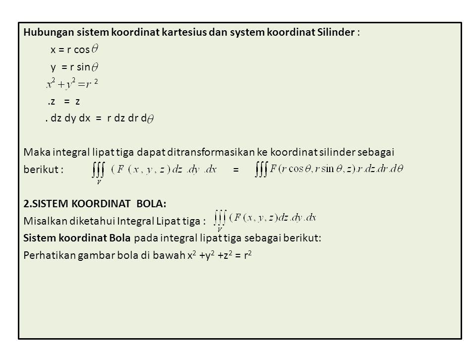 Hubungan sistem koordinat kartesius dan system koordinat Silinder :