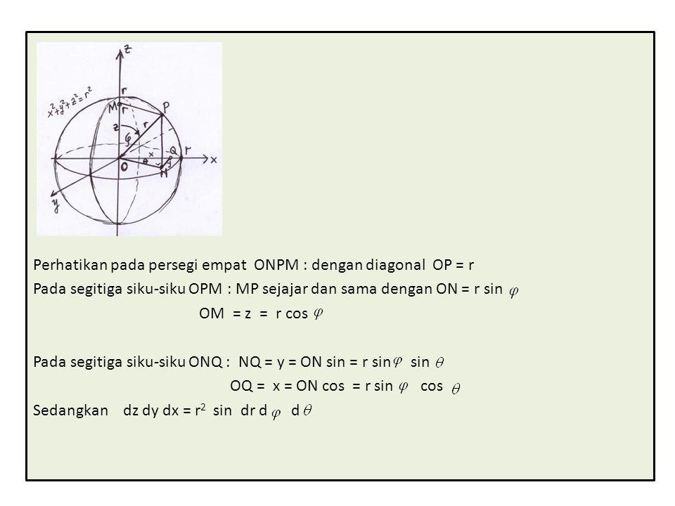 Perhatikan pada persegi empat ONPM : dengan diagonal OP = r