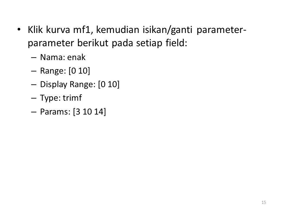 Klik kurva mf1, kemudian isikan/ganti parameter-parameter berikut pada setiap field: