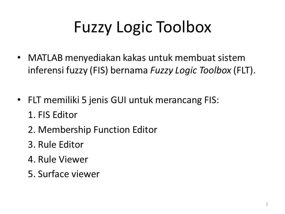 Fuzzy Logic Toolbox MATLAB menyediakan kakas untuk membuat sistem inferensi fuzzy (FIS) bernama Fuzzy Logic Toolbox (FLT).