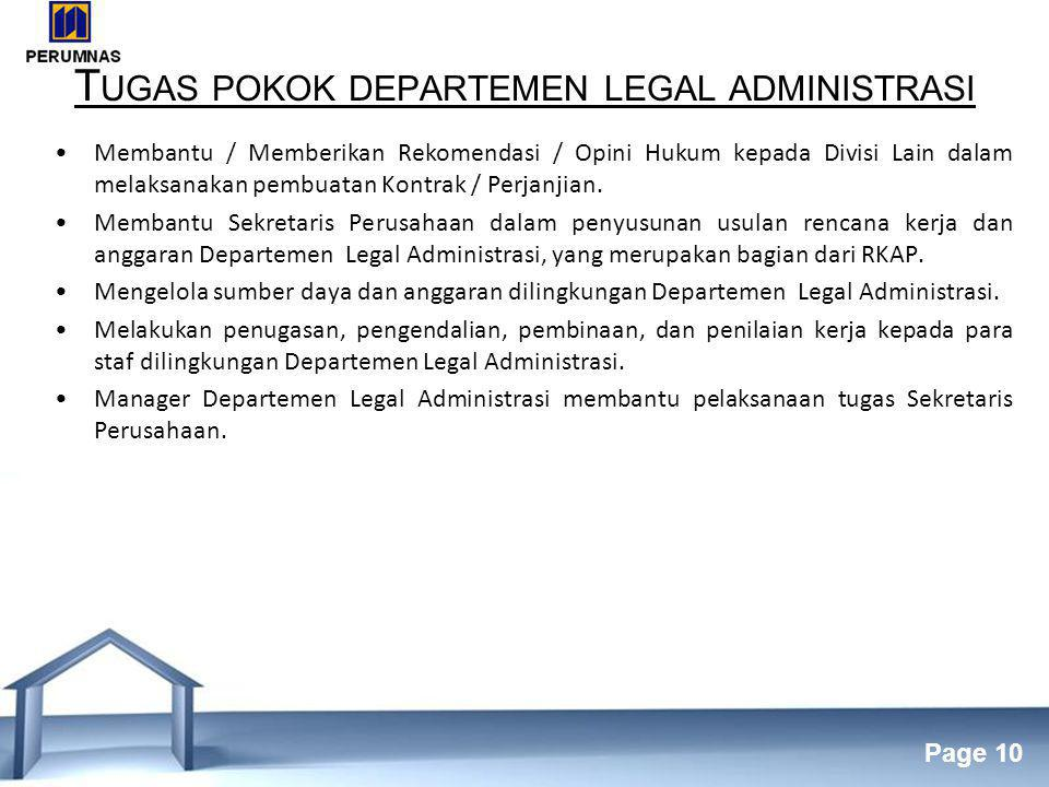 Tugas pokok departemen legal administrasi