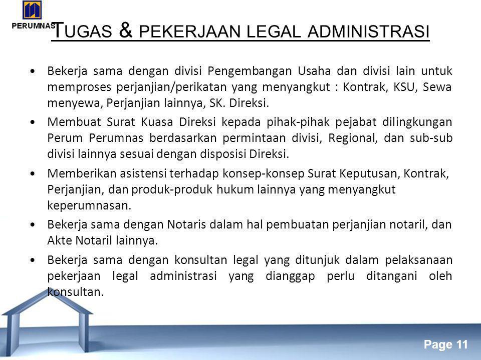 Tugas & pekerjaan legal administrasi