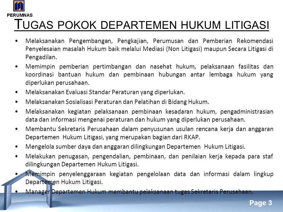 Tugas pokok departemen hukum litigasi