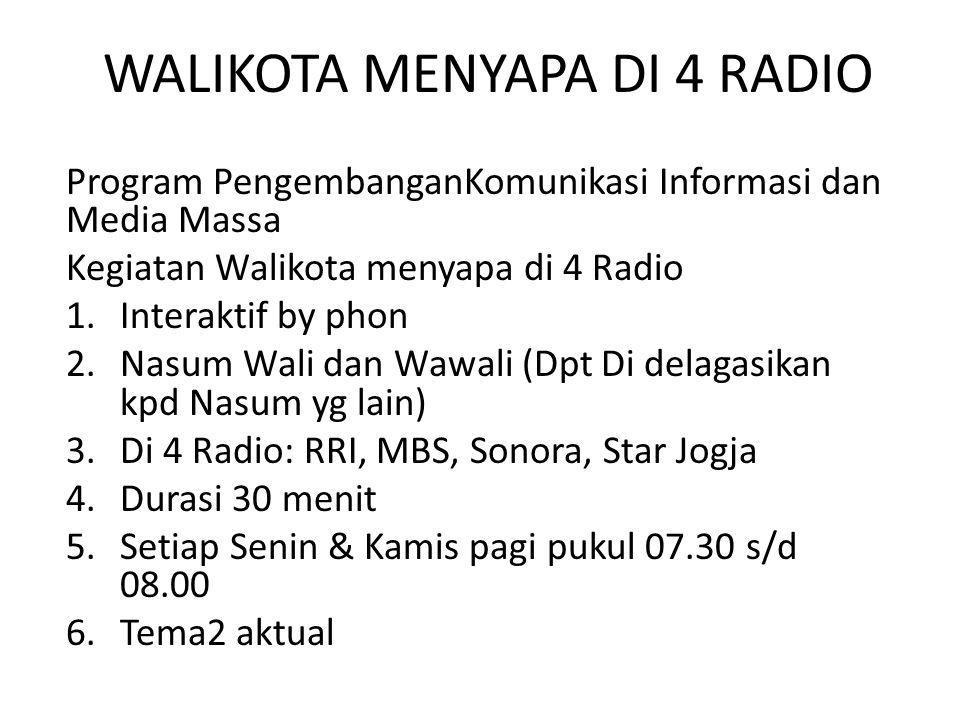 WALIKOTA MENYAPA DI 4 RADIO