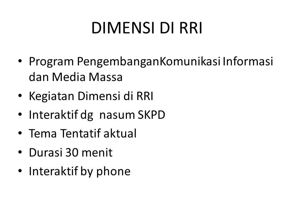 DIMENSI DI RRI Program PengembanganKomunikasi Informasi dan Media Massa. Kegiatan Dimensi di RRI. Interaktif dg nasum SKPD.