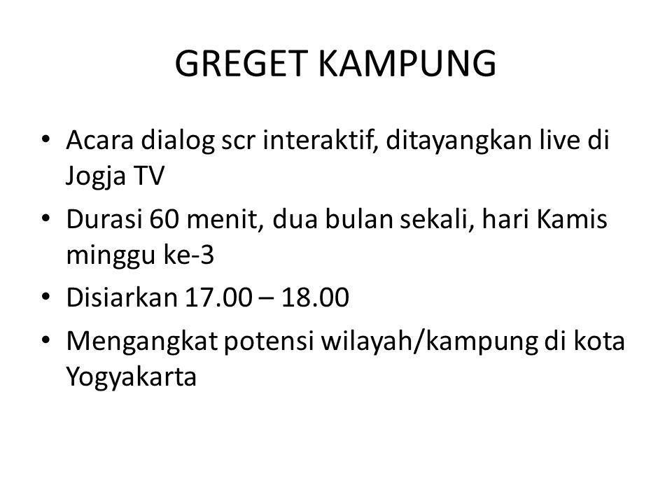 GREGET KAMPUNG Acara dialog scr interaktif, ditayangkan live di Jogja TV. Durasi 60 menit, dua bulan sekali, hari Kamis minggu ke-3.