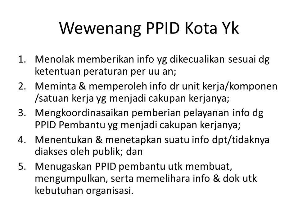 Wewenang PPID Kota Yk Menolak memberikan info yg dikecualikan sesuai dg ketentuan peraturan per uu an;