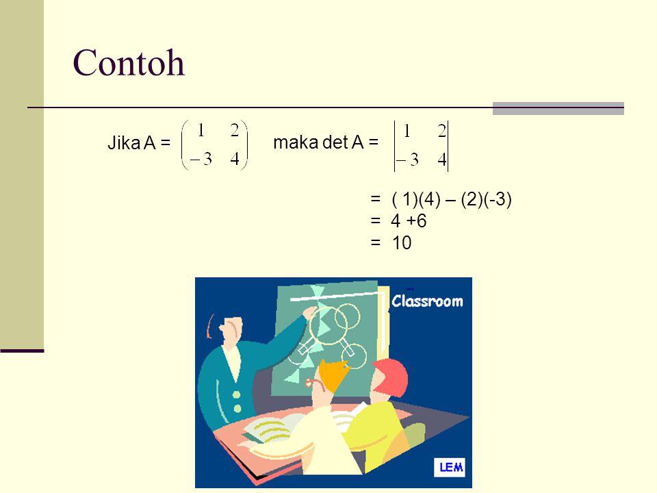 Contoh Jika A = maka det A = = ( 1)(4) – (2)(-3) = 4 +6 = 10