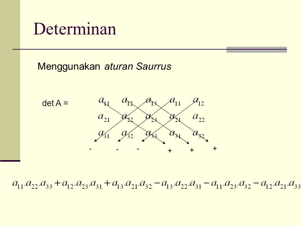Determinan Menggunakan aturan Saurrus det A = - - - + + +