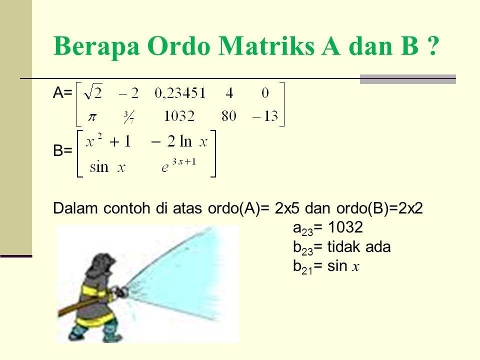 Berapa Ordo Matriks A dan B