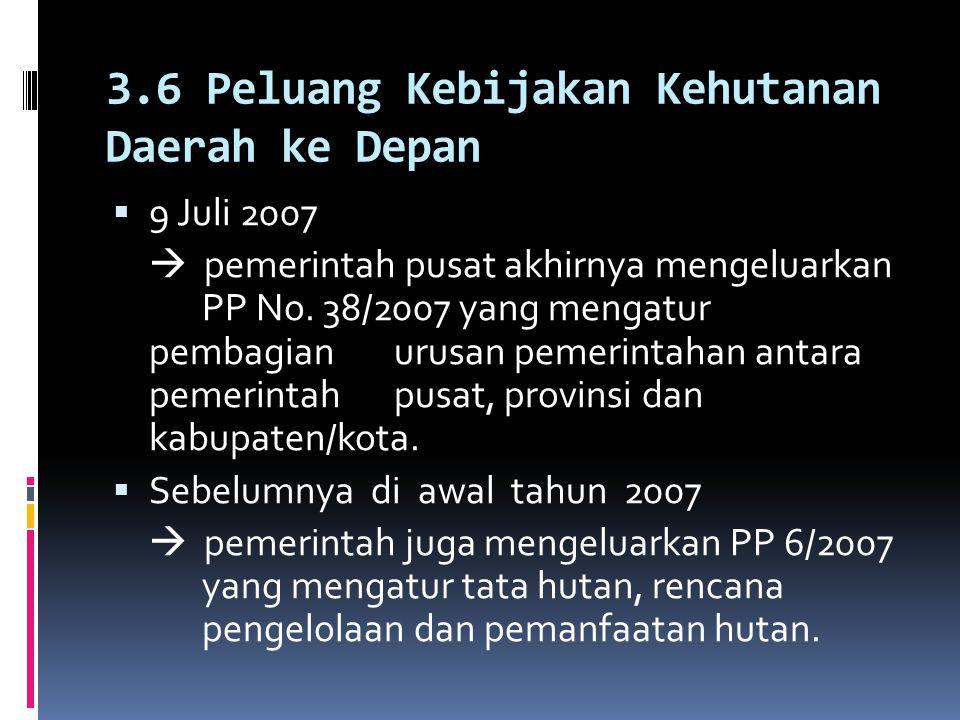 3.6 Peluang Kebijakan Kehutanan Daerah ke Depan