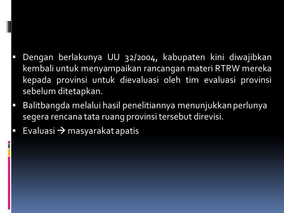 Dengan berlakunya UU 32/2004, kabupaten kini diwajibkan kembali untuk menyampaikan rancangan materi RTRW mereka kepada provinsi untuk dievaluasi oleh tim evaluasi provinsi sebelum ditetapkan.
