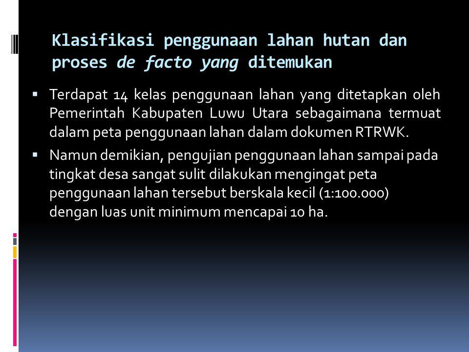 Klasifikasi penggunaan lahan hutan dan proses de facto yang ditemukan