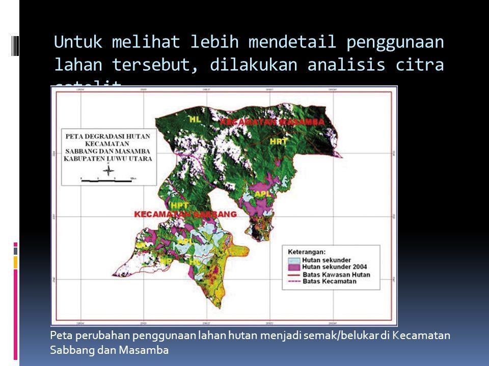 Untuk melihat lebih mendetail penggunaan lahan tersebut, dilakukan analisis citra satelit landsat tahun 2004