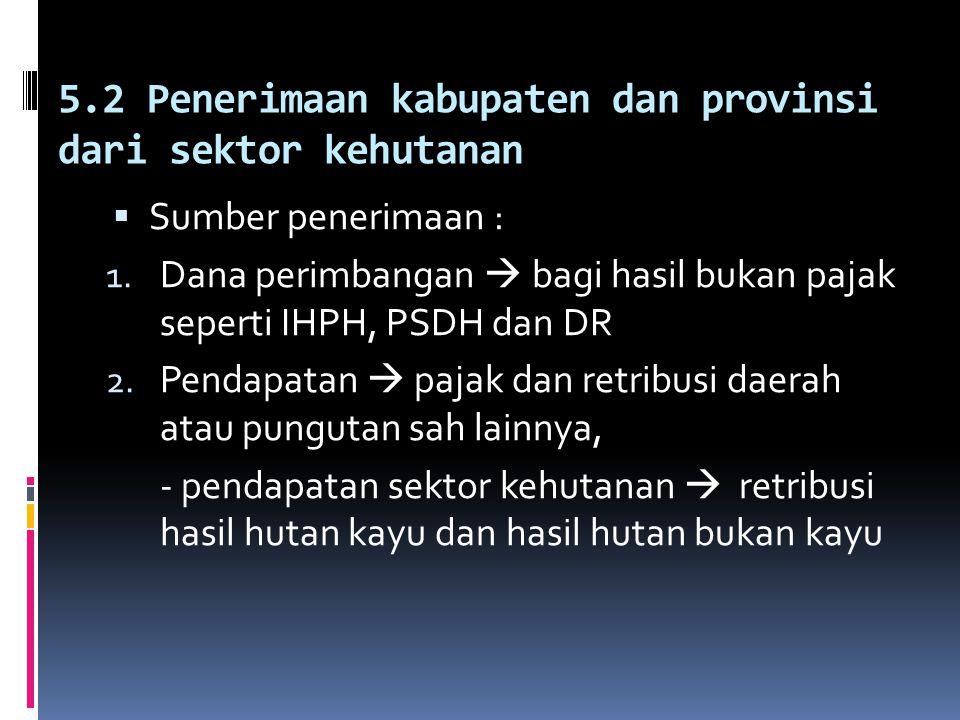 5.2 Penerimaan kabupaten dan provinsi dari sektor kehutanan
