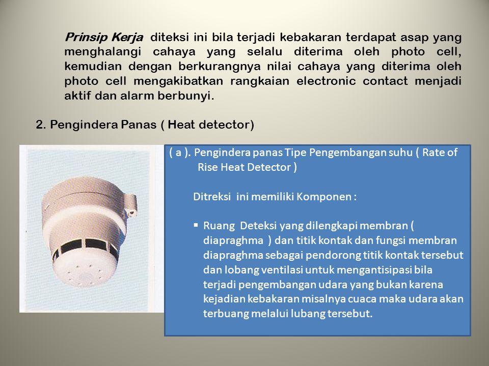 Prinsip Kerja diteksi ini bila terjadi kebakaran terdapat asap yang menghalangi cahaya yang selalu diterima oleh photo cell, kemudian dengan berkurangnya nilai cahaya yang diterima oleh photo cell mengakibatkan rangkaian electronic contact menjadi aktif dan alarm berbunyi.